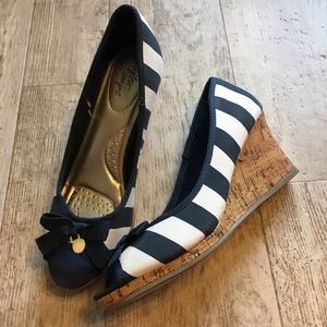 Nautical Stripe Peep Toe Wedges